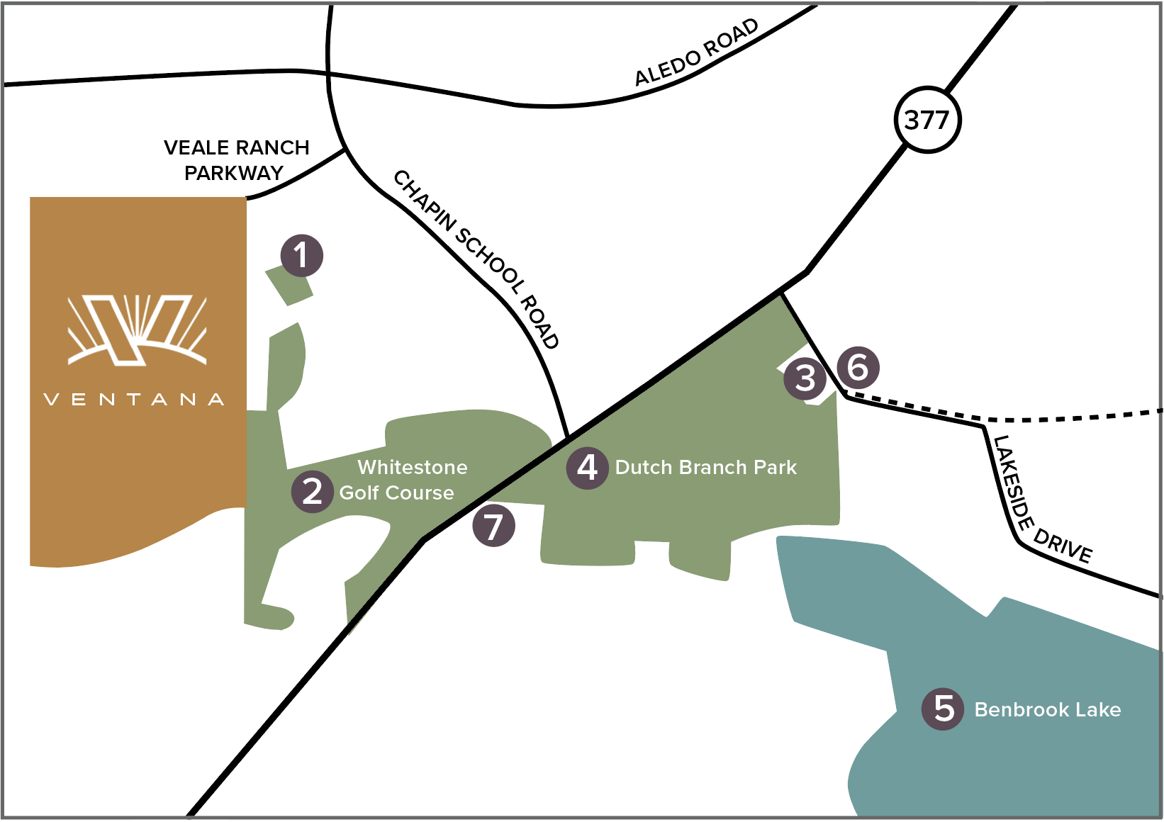 area amenities map for ventana fort worth
